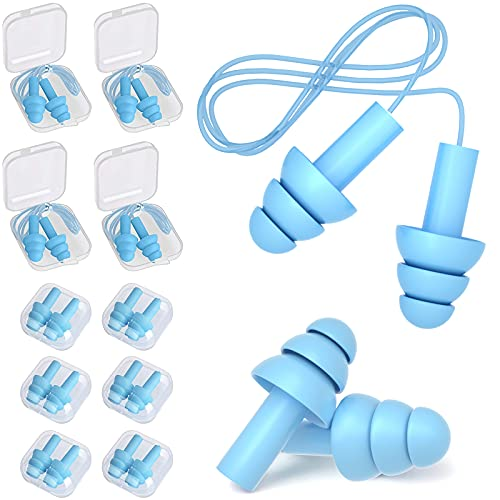 Reusable Ear Plugs, Waterproof Noise Canceling Ear Plugs, Jrisbo 10 Pairs SNR 32db Soft Silicone Earplugs for Sleeping, Swimming, Concert, Motorcycling, Shooting, Side Sleeper, Lawn Mowing