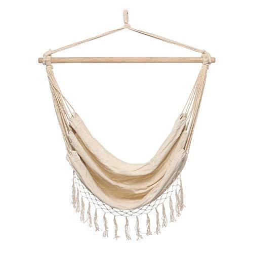 DHTOMC Hamaca colgante de tela, mecedora de cuerda, hamaca para jardín, porche, exterior, trapezoidal, 150 kg, asiento ancho