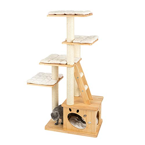 GBY massives Katzennest Katzenbaum Katzenbaum Klettergerüst Katzenbaum Kiefer Klettergerüst großes Katzenhaus zartes und langlebiges Holz geeignet für Katzen im Innenbereich 146 x 67 x 45 cm