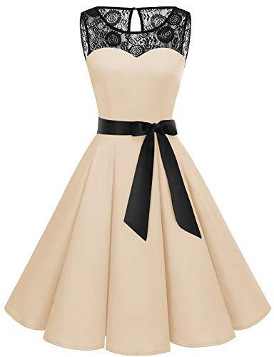 Bbonlinedress Vintage Kleid cocktailkleid Abendkleid Rockabilly Kleider Damen Petticoat Kleid cocktailkleid damenhochzeitskleid Kleider Damen Abendkleider Champagne M