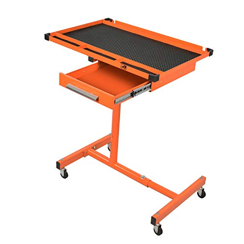 Aain, Orange Heavy-Duty Adjustable Work Drawer & Wheels, Mechanic Tray,Mobile Rolling Tool Table