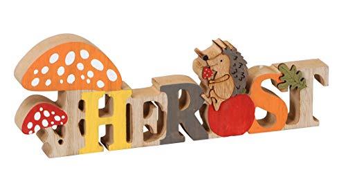 Posiwio dekorativer Schriftzug Herbst mit Igel und Pilz Holz bemalt ca. 30 x 2,5 x 11 cm hoch