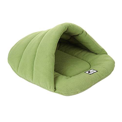 Minzi Kattenholle huisdierbed hondenmand warm hondenholle zacht hondenmand slaapplaats afwasbaar dierbed slaapzak binnen en buiten hondenmand voor puppy's en katten, groen, M
