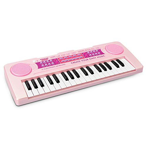 aPerfectLife Charging Kids Keyboard Piano, 37 Keys Multi-Function Electronic Educational Toy Organ for Kids Toddlers Children with Microphone (Pink)