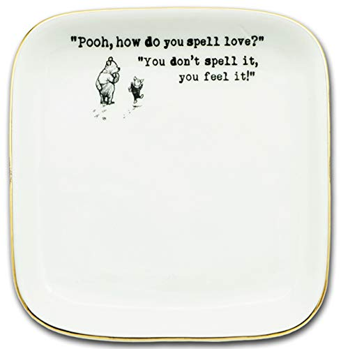 How Do You Spell Love,You Don'T Spell It,You Feel It -Winnie The Pooh -Ceramic Jewelry Holder Ring Dish Trinket Tray Gift
