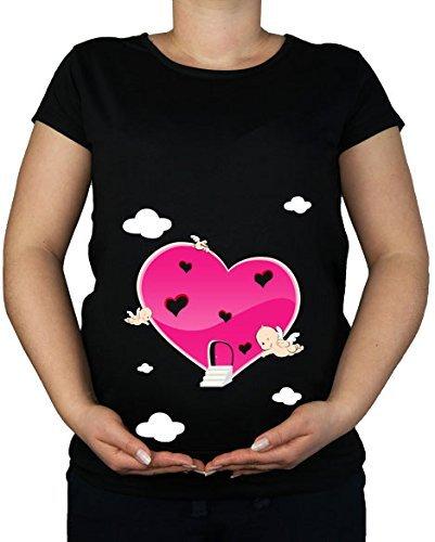 Maternité Grossesse Taille 10–20 Cœur Amour Cupidon Ange T-shirt Tunique Imprimé - -