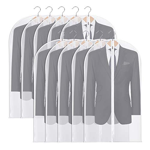 OSPUORT 10 Pack Hanging Garment Bags Suit Bag for Storage with Durable Zipper Washable Lightweight Garment Covers for Closet Storage
