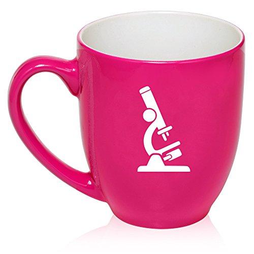 16 oz Large Bistro Mug Ceramic Coffee Tea Glass Cup Microscope Laboratory Professional (Hot Pink)
