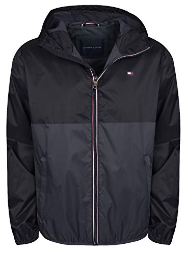 Tommy Hilfiger Men's Lightweight Active Water Resistant Hooded Rain Jacket, Black/Charcoal Colorblock, Small