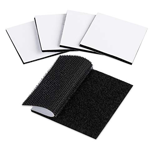ilauke 20 Stück Klettband Selbstklebend Extra Stark - 60x60mm Starker Halt Klettbänder für Wände und Boden, Tür, Gläser, Metalle, Spiegel, Schwarz