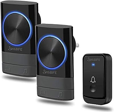 Wireless Doorbell, Plug in Door Bell 2 Receivers 1 Push Button Cordless, IP44 Waterproof Door Chime, 500-1000ft Range, 4 Levels Volume, 45 Ringtones (12V 23A Battery)