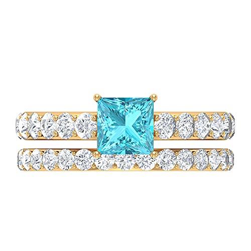 Rosec Jewels 14 quilates oro amarillo talla princesa redonda Blue Topacio azul - Suizo Diamond