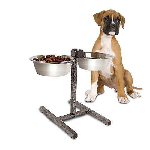 ZZQ Doppelte Hundehütte für Doppelkatze angehobener Futterschalen, höhenverstellbare Edelstahlfütterungsstation, Futternapf-Wasserschüssel Nur für kleine Hunde oder Welpen geeignet