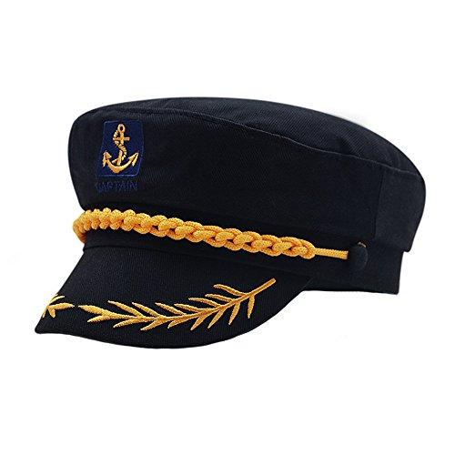 doublebulls hats Cerrado Gorras Militares Hombre Mujer Unisexo Bordado Admiral Marinero Capitán Sombreros Negro