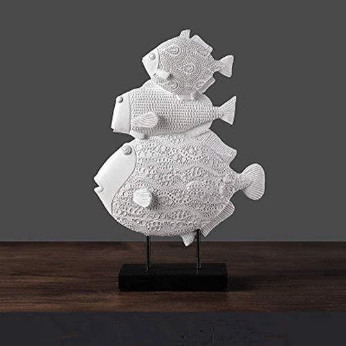 kglkb Escultura Decorativa Salon,Escultura De Animales Felicidad Vintage Diseño De Pez Blanco Escultura De Animales Arte Moda Vintage Simple para La Familia Artesanía De Escritorio AdornosEstatuas