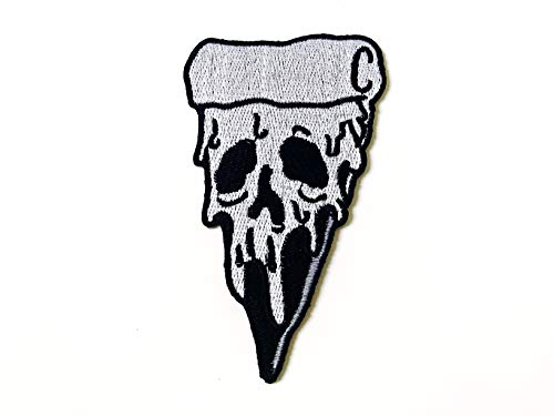 Zombie Ghost Pizza Skull Piece Gray Color Sewing Iron on Embroidered Patch
