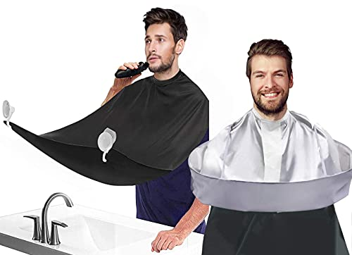 Hair Cutting Cape Umbrella and Beard Bib, Haircut Cape Hair Catcher for Adults/Kids, Waterproof Hair Cutting Accessories for Family Hairdresser With 2 Suction Cups (2 Pcs)