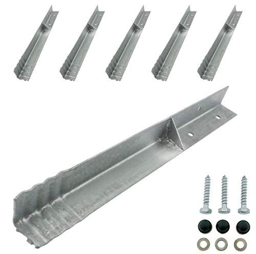 HOQ 6 x Sicherheits-Winkelanker 45x45x500mm Bodenanker Schaukelanker Spielturm Erdanker für Spieltürme, Schaukeln, etc.