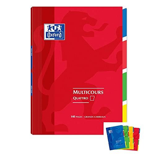Oxford – Lote de 3 cuadernos 4 secciones openflex140p grandes cuadros, colores aleatorios 24 x 32 cm