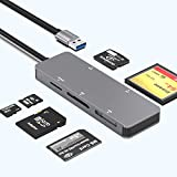 USB Memory Card Reader, Rocketek 5 in 1 USB Memory Card Adapter with SD/M2/XD/CF/TF(Support MS Card) 5Gbps Superspeed Read 5 Cards Simultaneously for Mac OS,Windows,Linux,Chrome, Multi Card SD Reader