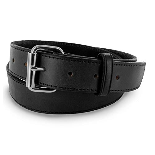 Hanks Stitch Gunner Belts - 1.5' Best Vaue in A Concealed Carry Belt - USA Made 13OZ Leather - 100 Year Warranty - BLK - 32