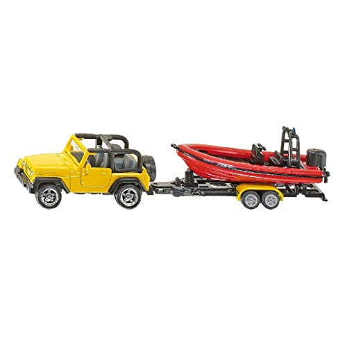 SIKU 1658, Jeep mit Boot, Metall/Kunststoff, Gelb/Rot, Abnehmbarer Anhänger, Schwimmfähiges Boot