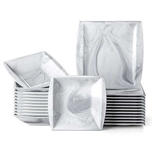 MALACASA, Serie Blance, Marmor Porzellan Tafelservice 24 TLG. Set Kombiservice mit je 12 Speiseteller und 12 Suppenteller für 12 Personen