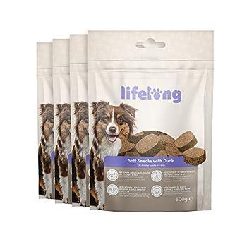 Marque Amazon - Lifelong - Friandises pour chiens, riches in protéines, avec canard (4 pack x 300gr)