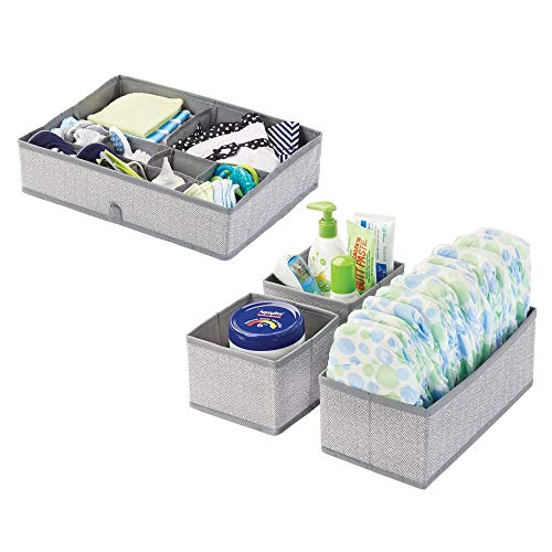 mDesign Juego de 2 cajas organizadoras para cuarto infantil de fibra sintética y con motivo de espiga – Cestas de tela para accesorios de bebé – Organizadores para armarios o cajones – gris