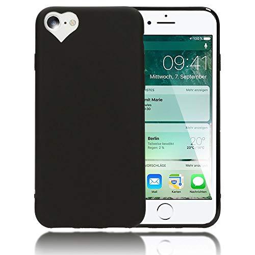 NALIA Cover Cuore compatibile con iPhone SE 2020/8 / 7 Custodia, Protettiva Morbido Silicone Copertura Sottile Gomma Gel Bumper, Ultra-Slim Case Skin Antiurto Guscio Grip Etui, Colore:Nero