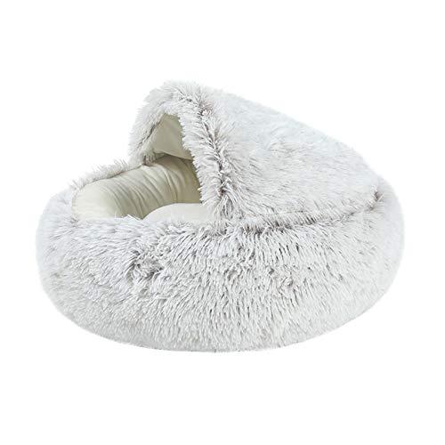 PETAMANIM Hundebett Hundehöhle Katzenbett Katzenhöhle weich warm waschbar innen bequem für kleine mittelgroße Hunde Katzen,Braun