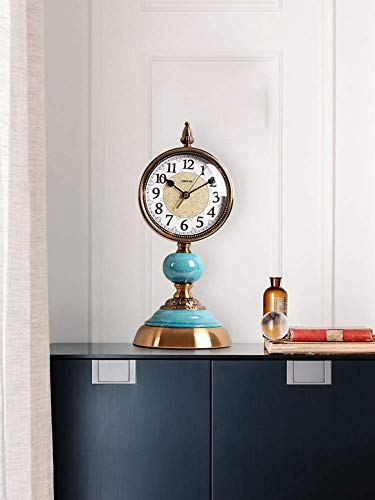 Decoración de muebles Decoración Reloj de mesa de metal Silencioso Sin tictac Cuarzo Relojes de repisa de pie Adornos con estilo moderno americano Reloj de escritorio Decoración de sala de estar 39