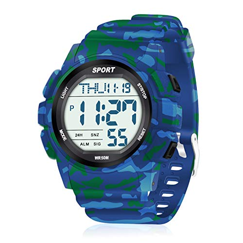 WIFORT Orologio Digitale Uomo, Orologi Militari da Polso da Uomo Resistenti Agli Urti, 50m Nuoto Impermeabile, Cronometro Conto alla rovescia Allarme Doppio fuso orario, Azzurro