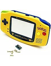 アウターハウジングシェルケースポケモンエディション交換用、for Nintendo 任天堂 ニンテンドーゲームボーイアドバンス GBAゲーム機用、アッパーイエロー&ボトムブルー外殼 / ガラスプロテクタースクリーン/ボタン/ネジ