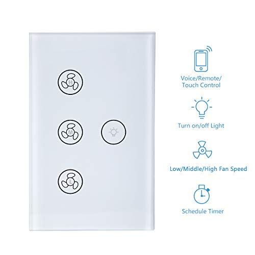 New Upgraded Smart Switch for Light and Fan, Smart WiFi Light Fan Switch Ceiling Fan Speed Controller Timer Function APP/Voice/Touch Control Compatible with Alexa and Google Home Easy Installation