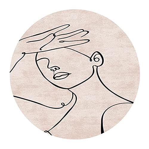 YNFNGXU - Tappeto rotondo astratto, con labbra gialle e viso, lavabile soggiorno nordico, in velluto da 6 mm, sottile tappeto, 80/100/120/140/160 cm (dimensioni: 140 cm, colore: 06)