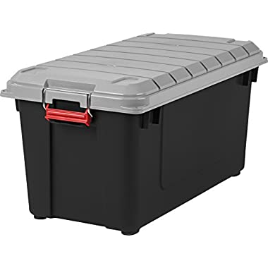 IRIS USA, Inc. IRIS 82 Quart Weathertight Storage Box, Store-It-All Utility Tote, 4 Pack, Black