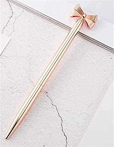Eeayyygch - Penna a sfera in metallo, elegante e carino, con fiocco, per ufficio, per donne e ragazze e colleghi (colore: oro rosa)