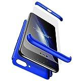 Ttimao Compatible con Funda Xiaomi Mi 8 Lite PC Hard Case [Protector de Pantalla de Vidrio Temperado] Anti-Shock Ultrafino 360 ° Caja Protección 3 en 1 Cubierta Protectora (Azul)