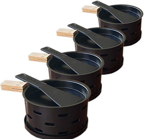 Kerzen-Raclette - 4 einzelne Pfännchen lassen sich überall hin mitnehmen - schmelzen Sie Ihren Käse schnell - 4er Set