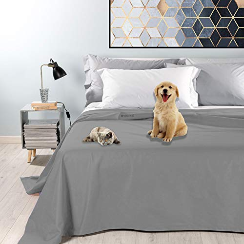 Byour3® Colcha impermeable para cama de matrimonio – Tela decorativa antimanchas para animales lavable resistente primavera verano manta anti pelos gatos perros arañazos (180, gris acero)