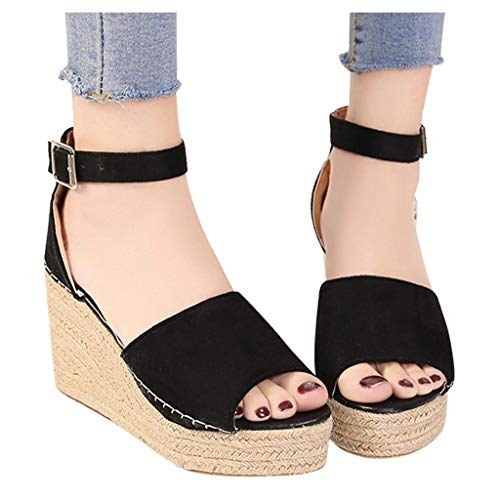 Why Choose kaifongfu Summer Platform Sandal Flat Women Open Toe Beach Sandals Buckle Strap Straw Wed...