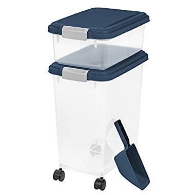IRIS USA, Inc. 3- Piece Airtight Pet Food Storage Container Combo, Navy Blue