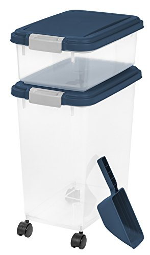 IRIS USA 3 Piece Airtight Pet Food Storage Container Combo, Navy Blue MP-8/MP-1/SCP-2, 33-Quart and...