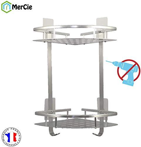 Hoekdouche of badkamerrek 2 niveaus in aluminium (ANTI-RUST) met installatie zonder BOREN of boren. Opbergvak voor shampoo en zeep.