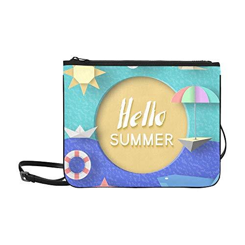 WYYWCY Hallo Sommer Papier Applique Symbole Zeichen Benutzerdefinierte hochwertige Nylon Slim Clutch Crossbody Tasche Umhängetasche