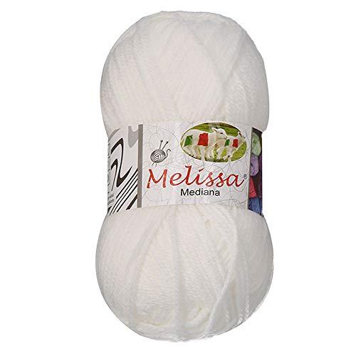 Melissa Hilo 100% Acrilico Ovillo de Lana (200m 100g * 1=50g * 2) Premium para DIY Tejer y Ganchillo, Certificado OEKO-TEX Standard 100,Agujas Talla 4(1/2)-5,Blanco 10,Enviado desde Europa