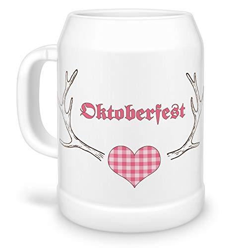 Tassendruck Bierkrug Hirschgeweih rosa zum Münchener Oktoberfest/Humpen/Maß/Seidel/Bierbembel/Bayern