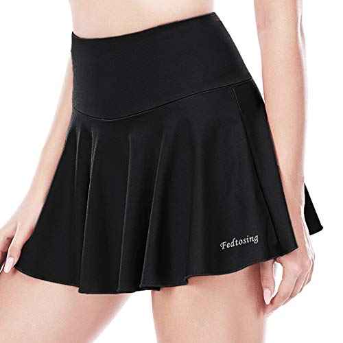 FEDTOSING Women's Pleated Tennis Skirts High Waisted Active Exercise Running Golf Sports Skorts with Pockets (Black 2XL)