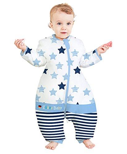 Chilsuessy Babyschlafsack Sommerschlafsack mit Füsse,abnehmbar Langarm Für Frühling Sommer Schlafsack Schlafanzug aus 100% Baumwolle Für kleine Kinder von 75-125cm, Blau, 110/Koerpergroesse 115-125cm